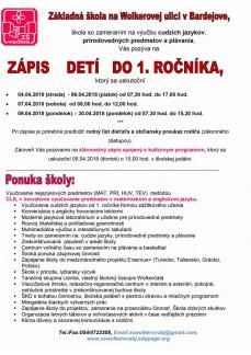 ZŠ WOLKEROVA - ZÁPIS